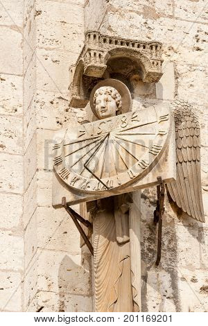 Antique sun clock on the wall of Chartres cathedral, France
