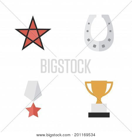 Elements Metal, Goblet, Premium And Other Synonyms Award, Shoe And Metal.  Vector Illustration Set Of Simple Awards Icons.