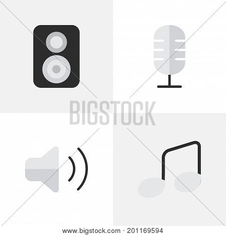 Elements Speaker, Music Sign, Loudness And Other Synonyms Speaker, Music And Sign.  Vector Illustration Set Of Simple Melody Icons.