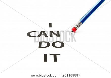 Can do it. Concept of self belief motivation and positive attitude. I can do it is written on white paper.