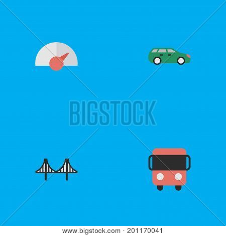 Elements Bridgework, Speed, Sedan And Other Synonyms Delivery, Speedometer And Bus.  Vector Illustration Set Of Simple Shipping Icons.