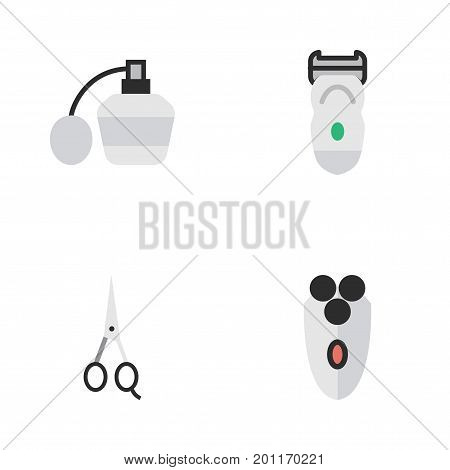 Elements Shaving Machine, Perfume, Scissors And Other Synonyms Electronic, Perfume And Shaver.  Vector Illustration Set Of Simple Hairdresser Icons.