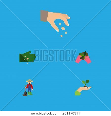 Flat Icon Seed Set Of Glove, Plant, Sow And Other Vector Objects