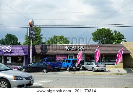CREST HILL, ILLINOIS / UNITED STATES - JULY 19, 2017: The Tokyo Spa offers massage services on Plainfield Road.