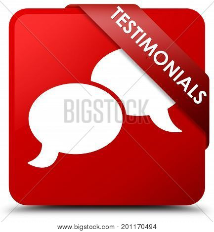 Testimonials (chat Icon) Red Square Button Red Ribbon In Corner