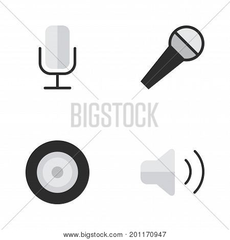 Elements Record, Loudspeaker, Mike And Other Synonyms Mic, Control And Speaker.  Vector Illustration Set Of Simple Melody Icons.