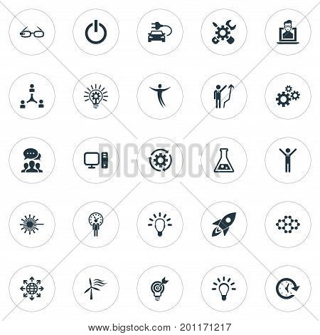 Elements Missile, Turn Off, Hi-Tech Spectacles And Other Synonyms Turn, Science And Bright.  Vector Illustration Set Of Simple Creative Icons.