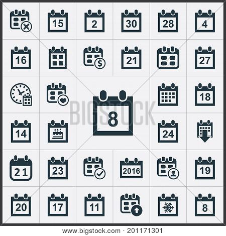 Elements Deadline, Conference, Twenty-Three And Other Synonyms Event, Seventeenth And Four.  Vector Illustration Set Of Simple Plan Icons.