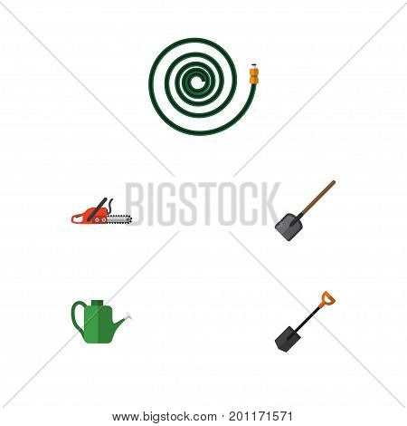 Flat Icon Farm Set Of Hosepipe, Spade, Hacksaw And Other Vector Objects