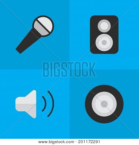 Elements Speaker, Loudness, Loudspeaker And Other Synonyms Amplifier, Loudspeaker And Mike.  Vector Illustration Set Of Simple Sound Icons.