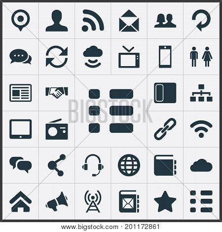 Elements Web Cloud, House Location, Walkie And Other Synonyms Link, Telly And Television.  Vector Illustration Set Of Simple Transmission Icons.
