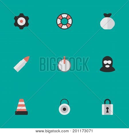 Elements Isolated, Lock, Cogwheel And Other Synonyms Warning, Key And Cogwheel.  Vector Illustration Set Of Simple Offense Icons.
