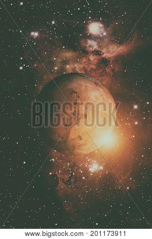 Planet Mars. Nebula On The Background.