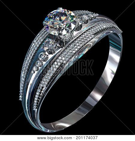 Silver band for engagement with gem. Diamond facetes luxury jewellery bijouterie ring from white gold or platinum with gemstone. 3D rendering on dark background. Family values.