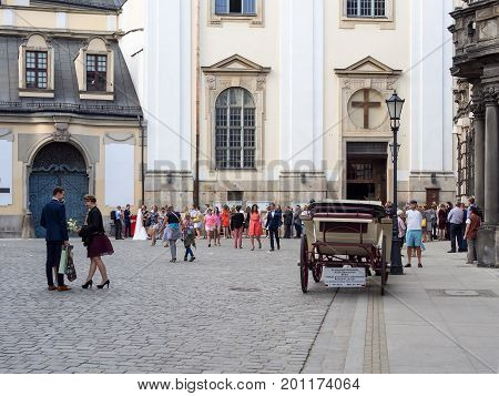 WROCLAW POLAND - AUGUST 14 2017: Wedding Party In Front of Church In Wroclaw