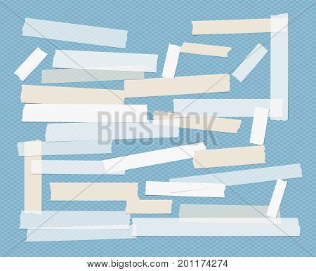 Brown and white different size adhesive, sticky, scotch tape, paper pieces on squared blue background