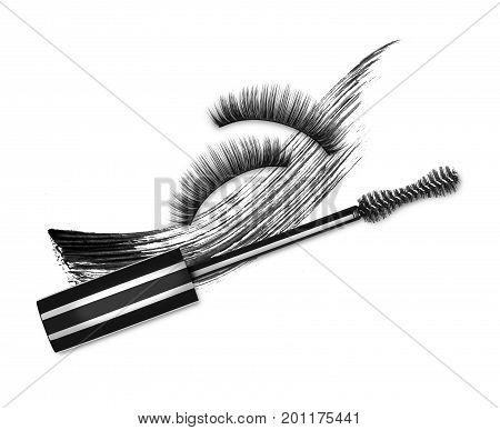 Mascara brush false eyelashes and cosmetic black stroke on white background
