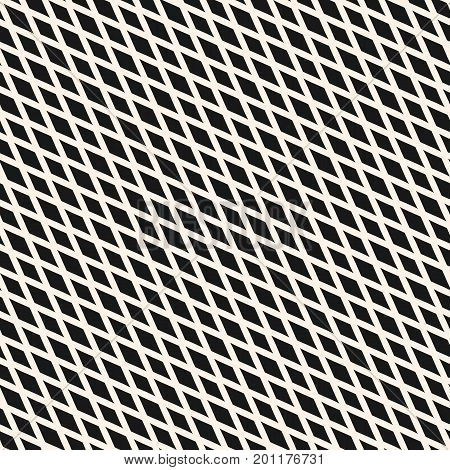 Slanted diamonds seamless geometric pattern. Simple stylish vector texture with small rhombuses, intersecting lines. Elegant abstract monochrome background. Design for decor, fabric, textile, linens. Diagonal pattern, mesh pattern, grid pattern.