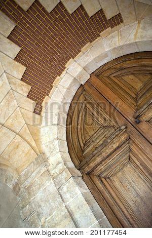 Old Wooden Mansion Door In Paris Place
