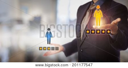 Unrecognizable manager is evaluating a female employee icon with a five star rating versus one with three. HR concept for talent management performance review staffing decisions and achievement.