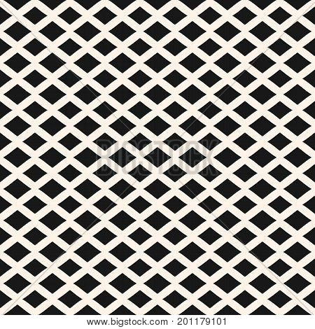 Rhombuses seamless pattern. Vector geometric texture with horizontal diamond shapes, lozenges. Simple abstract monochrome background. Stylish modern design for home decor, fabric, textile, furniture.