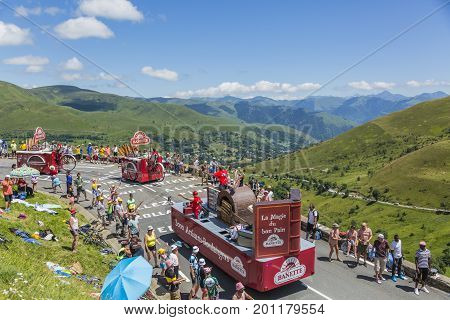 Col de PeyresourdeFrance- July 23 2014: Banette vehicles during the passing of the Publicity Caravan on the road to Col de Peyresourde in Pyrenees Mountains in the stage 17 of Le Tour de France on 23 July 2014.