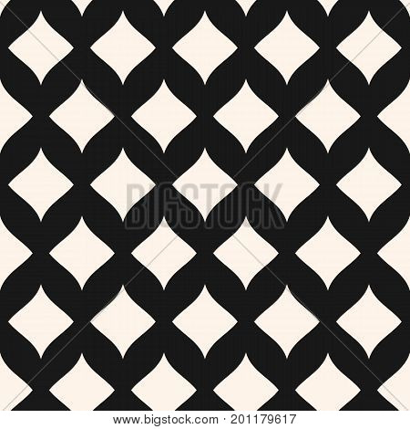 Simple vector seamless pattern. Stylish monochrome geometric texture with smooth shapes, curved rhombuses. Elegant abstract luxury background. Repeat tiles. Design for decor, textile, cloth, covers. Design pattern, rhombuses pattern, diamonds pattern.