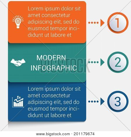 Modern strips infographics 3 options banner for business processes workflow diagram flowcharts