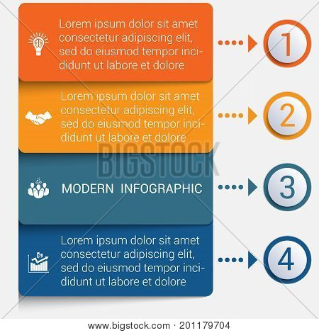 Modern strips infographics 4 options banner for business processes workflow diagram flowcharts