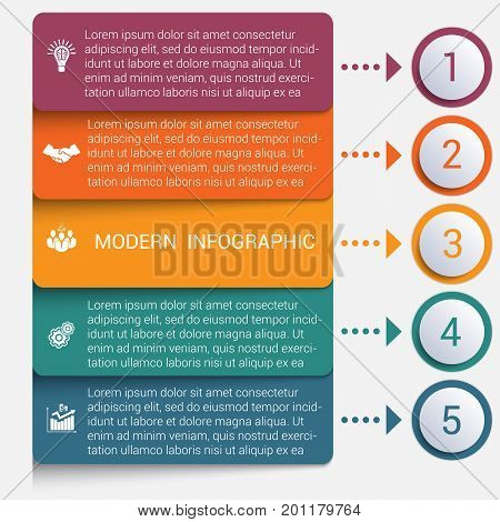 Modern strips infographics 5 options banner for business processes workflow diagram flowcharts
