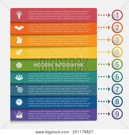 Modern strips infographics 9 options banner for business processes workflow diagram flowcharts