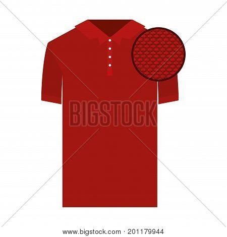 colorful silhouette of polo shirt short sleeve man and circle of macro textile pattern vector illustration
