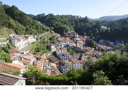 View Of The Houses In Cudillero From Up, Spain