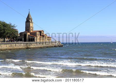Saint Pedro's Church In Saint Lorenzo's Beach In Gijón, Spain