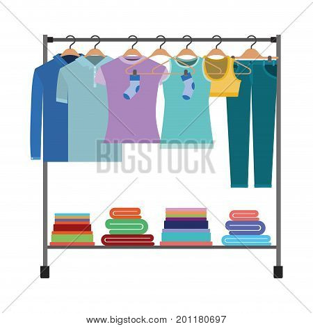 colorful silhouette of clothes rack with t-shirts and pants on hangers and fold clothes on bottom vector illustration