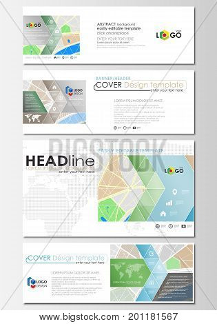Social media and email headers set, modern banners. Business templates. Cover design template, easy editable, abstract flat layout in popular sizes. City map with streets. Flat design template for tourism businesses, abstract vector illustration.
