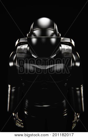 Black spacesuit from above, low key 3d illustration