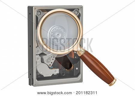 Hard Disk Drive HDD with magnifier 3D rendering isolated on white background