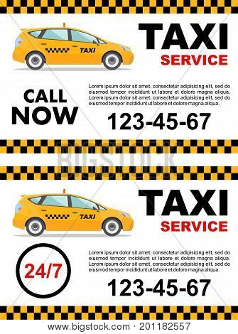 Taxi service concept. Vector banner poster or flyer. Detailed illustration of yellow taxi car.