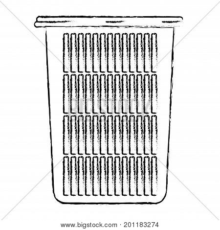 monochrome blurred silhouette of tall laundry basket without handles vector illustration