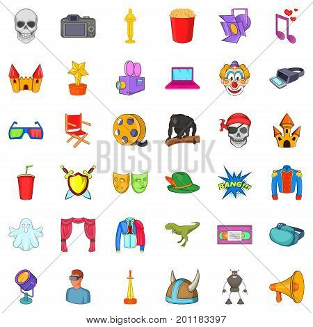 Comedy icons set. Cartoon style of 36 comedy vector icons for web isolated on white background