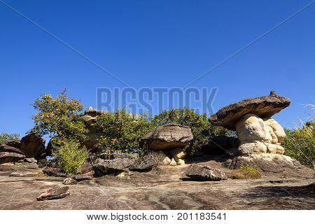 Mushroom stone and sunny at Phu Pha thoep National Park Mukdahan county of Thailand