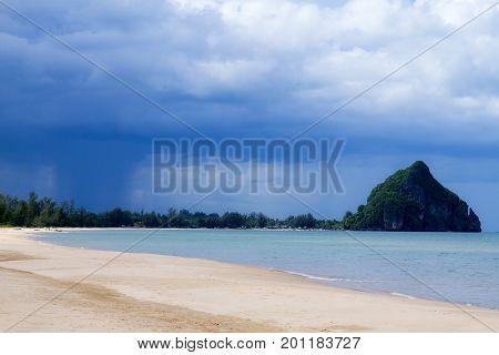 The beach Bang Boet Beach before the rain Chumphon Province Thailand is famous for travel