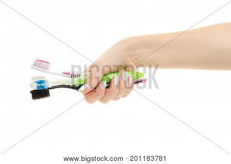 Female hands with toothbrushes toothbrushes for the whole family on white background isolation