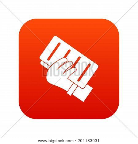 Brick in a hand icon digital red for any design isolated on white vector illustration