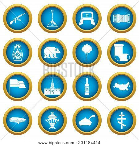 Russia icons blue circle set isolated on white for digital marketing