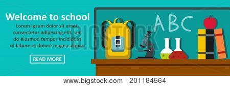 Welcome to school banner horizontal concept. Flat illustration of welcome to school banner horizontal vector concept for web