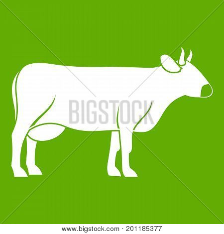 Cow icon white isolated on green background. Vector illustration