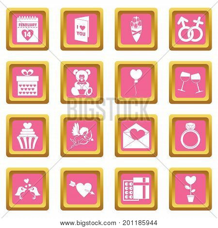Saint Valentine icoins set. Simple illustration of 16 Saint Valentine vector icons set in pink color isolated vector illustration for web and any design