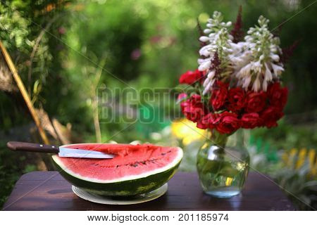 Big Ripe Water Melon Cut With Knife